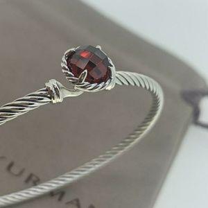 David Yurman 3mm Chatelaine Cable Bracelet Garnet